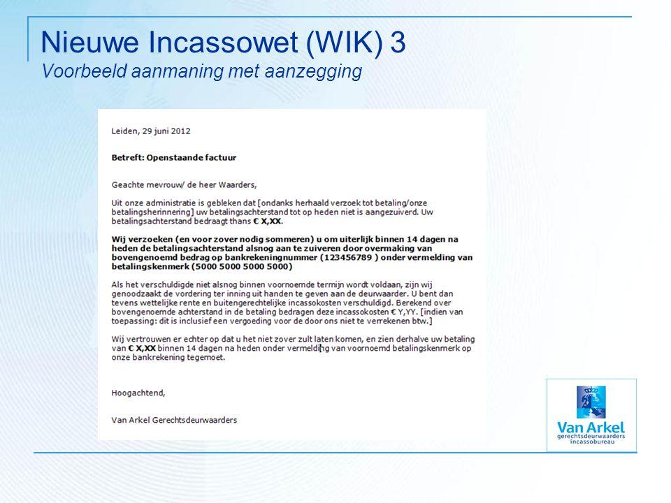 Nieuwe Incassowet (WIK) 3 Voorbeeld aanmaning met aanzegging