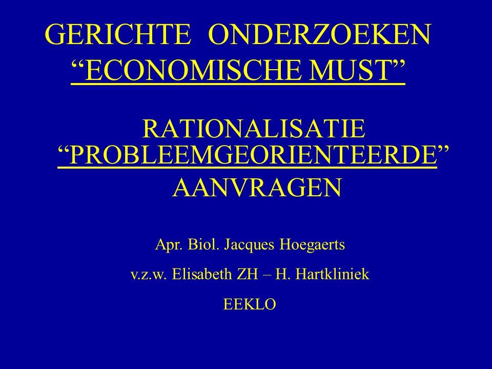 """GERICHTE ONDERZOEKEN """"ECONOMISCHE MUST"""" RATIONALISATIE """"PROBLEEMGEORIENTEERDE"""" AANVRAGEN Apr. Biol. Jacques Hoegaerts v.z.w. Elisabeth ZH – H. Hartkli"""