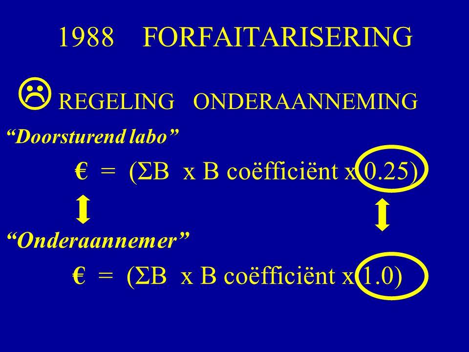"""1988 FORFAITARISERING """"Doorsturend labo"""" € = (ΣB x B coëfficiënt x 0.25) """"Onderaannemer"""" € = (ΣB x B coëfficiënt x 1.0) REGELING ONDERAANNEMING """