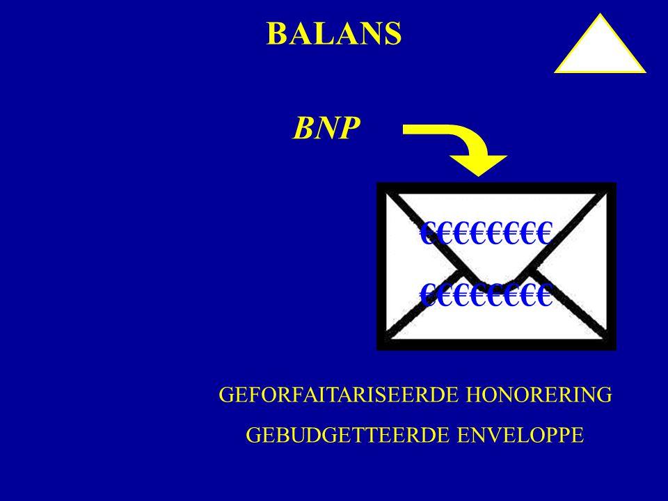 BALANS BNP €€€€€€€€ GEFORFAITARISEERDE HONORERING GEBUDGETTEERDE ENVELOPPE