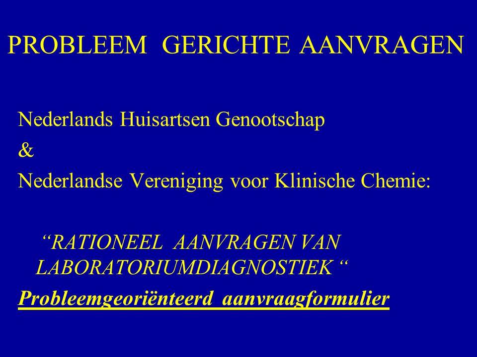 """PROBLEEM GERICHTE AANVRAGEN Nederlands Huisartsen Genootschap & Nederlandse Vereniging voor Klinische Chemie: """"RATIONEEL AANVRAGEN VAN LABORATORIUMDIA"""