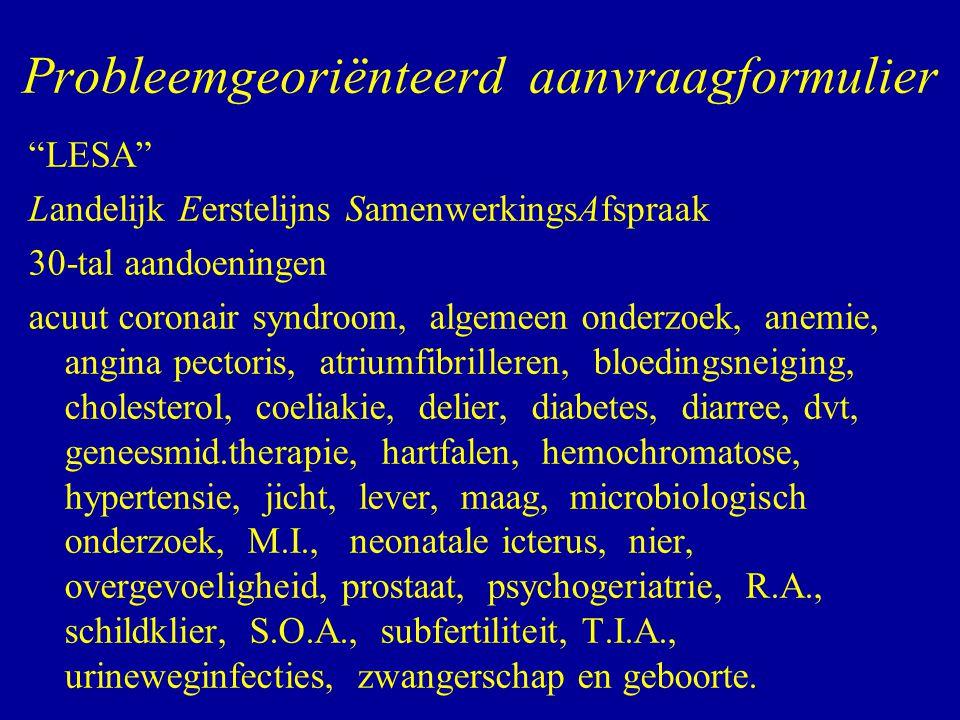 """""""LESA"""" Landelijk Eerstelijns SamenwerkingsAfspraak 30-tal aandoeningen acuut coronair syndroom, algemeen onderzoek, anemie, angina pectoris, atriumfib"""