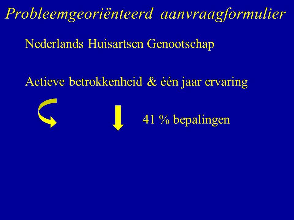 Probleemgeoriënteerd aanvraagformulier Nederlands Huisartsen Genootschap Actieve betrokkenheid & één jaar ervaring 41 % bepalingen