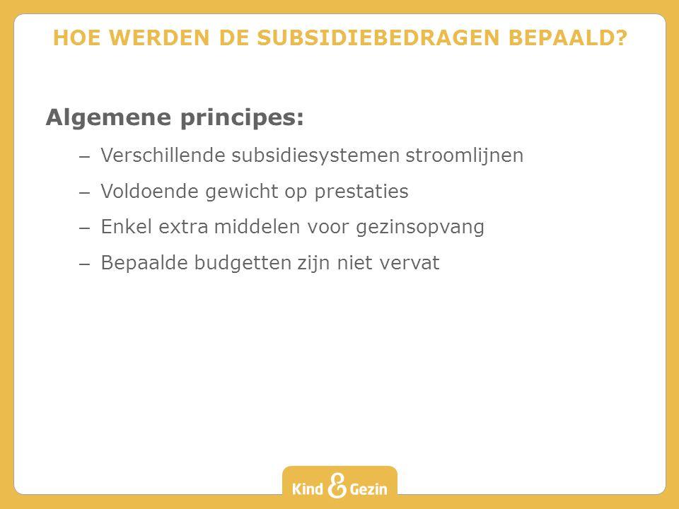 Algemene principes: – Verschillende subsidiesystemen stroomlijnen – Voldoende gewicht op prestaties – Enkel extra middelen voor gezinsopvang – Bepaalde budgetten zijn niet vervat HOE WERDEN DE SUBSIDIEBEDRAGEN BEPAALD