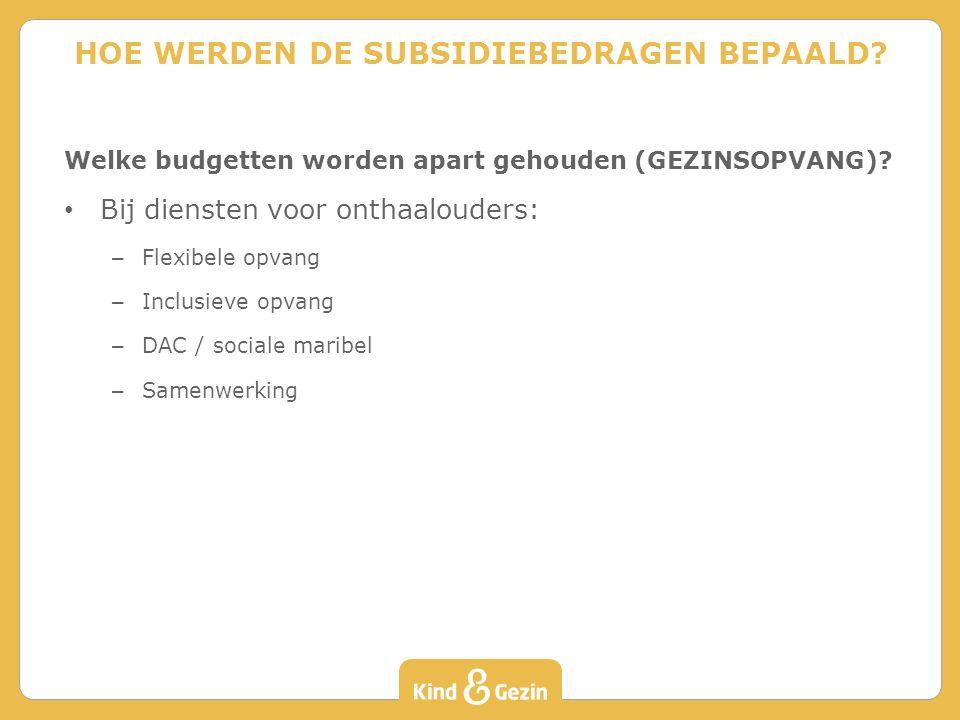 Welke budgetten worden apart gehouden (GEZINSOPVANG).