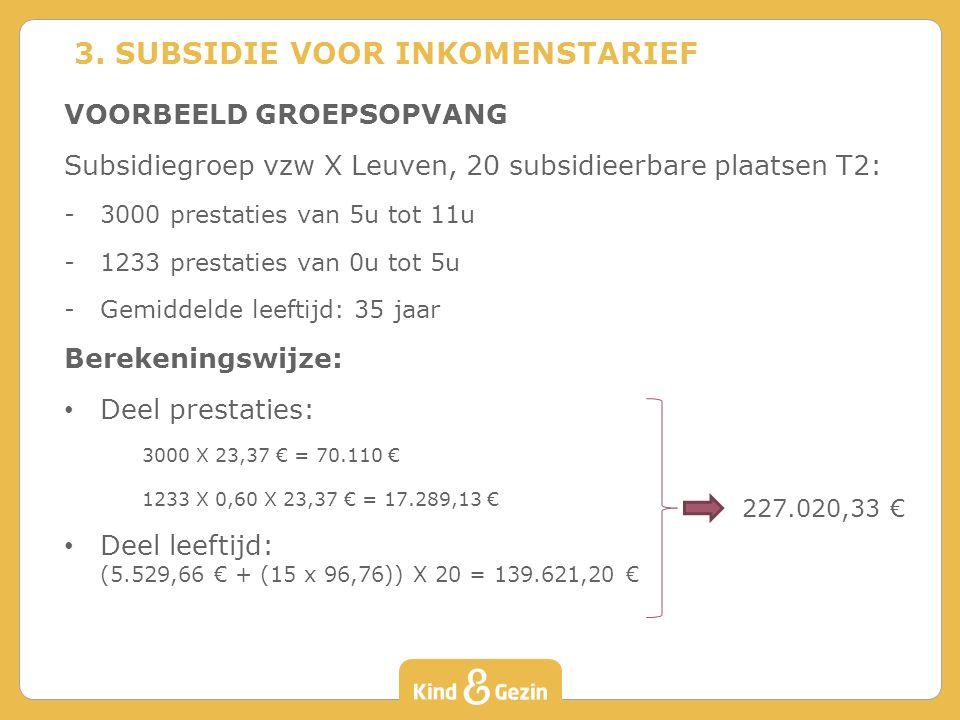 VOORBEELD GROEPSOPVANG Subsidiegroep vzw X Leuven, 20 subsidieerbare plaatsen T2: -3000 prestaties van 5u tot 11u -1233 prestaties van 0u tot 5u -Gemiddelde leeftijd: 35 jaar Berekeningswijze: Deel prestaties: 3000 X 23,37 € = 70.110 € 1233 X 0,60 X 23,37 € = 17.289,13 € Deel leeftijd: (5.529,66 € + (15 x 96,76)) X 20 = 139.621,20 € 3.