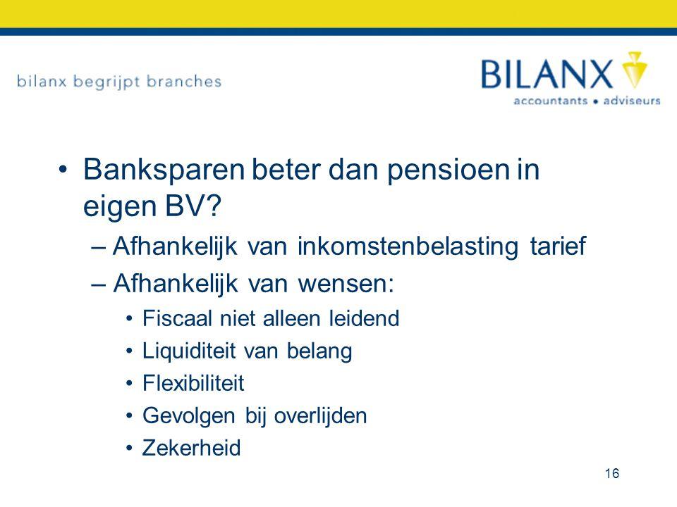 Banksparen beter dan pensioen in eigen BV? –Afhankelijk van inkomstenbelasting tarief – Afhankelijk van wensen: Fiscaal niet alleen leidend Liquiditei