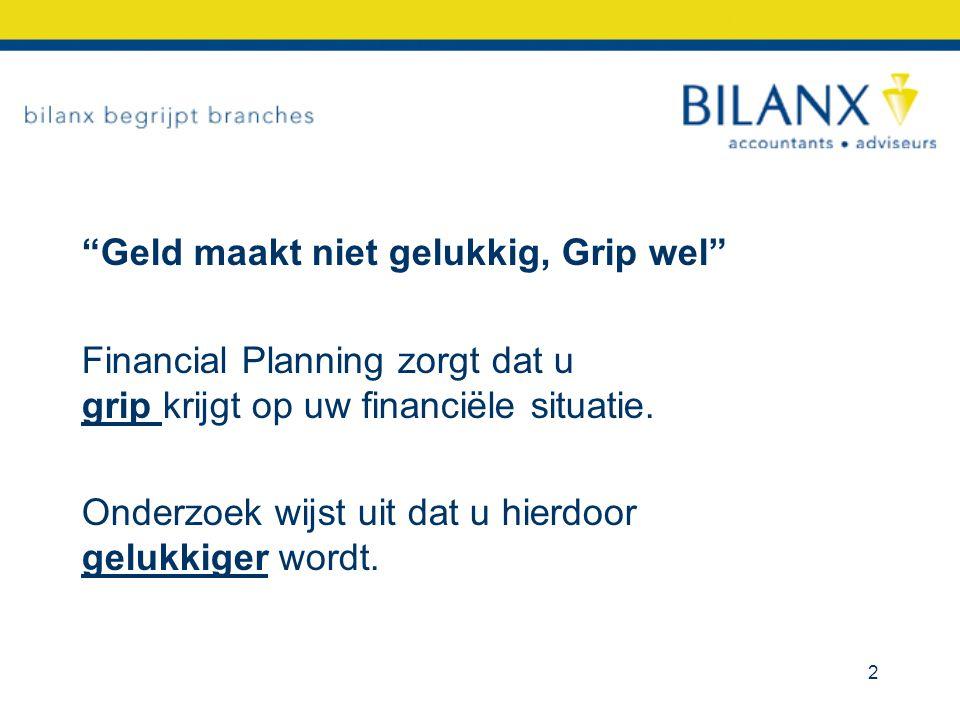 """""""Geld maakt niet gelukkig, Grip wel"""" Financial Planning zorgt dat u grip krijgt op uw financiële situatie. Onderzoek wijst uit dat u hierdoor gelukkig"""