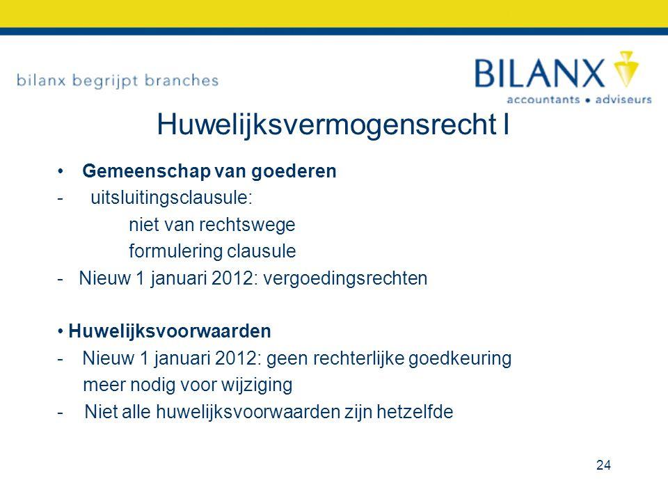 Huwelijksvermogensrecht I Gemeenschap van goederen -uitsluitingsclausule: niet van rechtswege formulering clausule - Nieuw 1 januari 2012: vergoedings