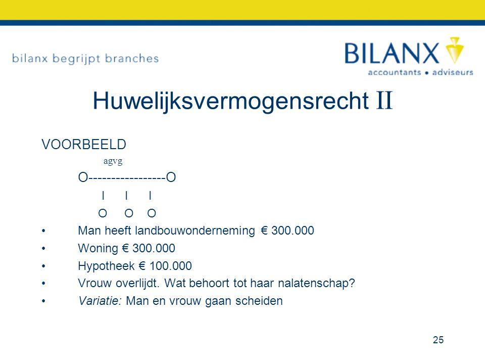 Huwelijksvermogensrecht II VOORBEELD agvg O-----------------O I I I O O O Man heeft landbouwonderneming € 300.000 Woning € 300.000 Hypotheek € 100.000 Vrouw overlijdt.