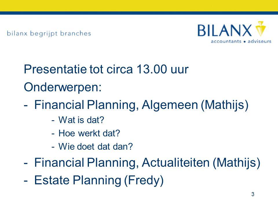 Presentatie tot circa 13.00 uur Onderwerpen: -Financial Planning, Algemeen (Mathijs) -Wat is dat? -Hoe werkt dat? -Wie doet dat dan? -Financial Planni