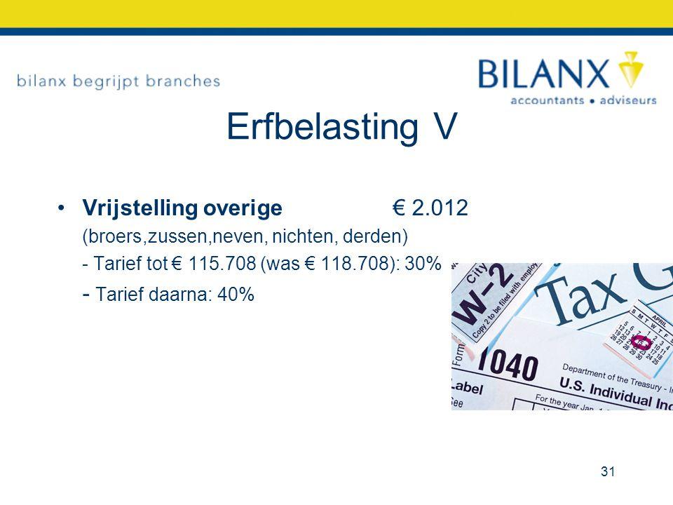 Erfbelasting V Vrijstelling overige € 2.012 (broers,zussen,neven, nichten, derden) - Tarief tot € 115.708 (was € 118.708): 30% - Tarief daarna: 40% 31