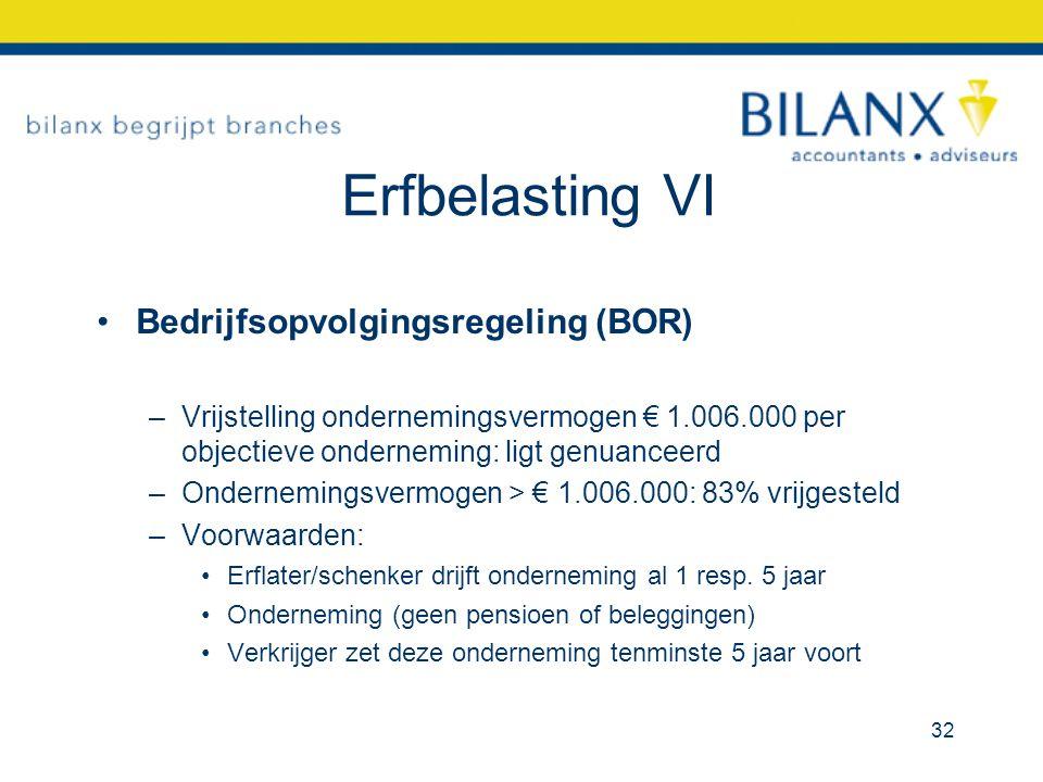 Erfbelasting VI Bedrijfsopvolgingsregeling (BOR) –Vrijstelling ondernemingsvermogen € 1.006.000 per objectieve onderneming: ligt genuanceerd –Ondernemingsvermogen > € 1.006.000: 83% vrijgesteld –Voorwaarden: Erflater/schenker drijft onderneming al 1 resp.