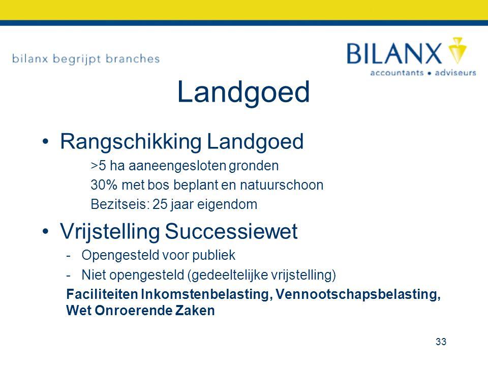 Landgoed Rangschikking Landgoed >5 ha aaneengesloten gronden 30% met bos beplant en natuurschoon Bezitseis: 25 jaar eigendom Vrijstelling Successiewet