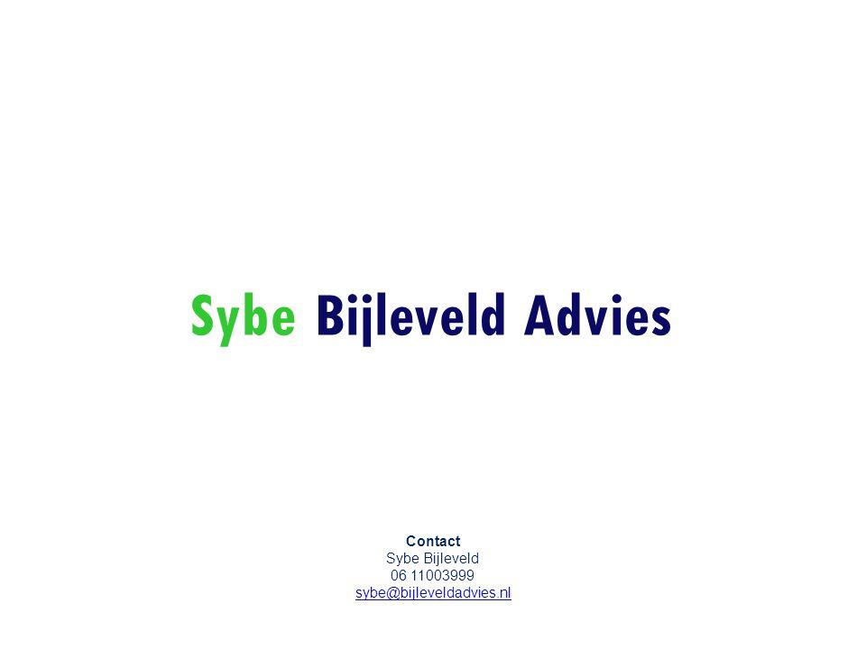 Sybe Bijleveld Advies Contact Sybe Bijleveld 06 11003999 sybe@bijleveldadvies.nl