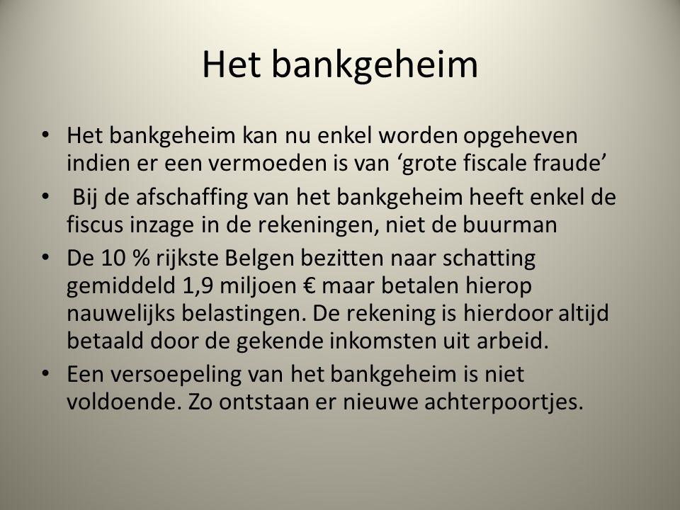 Het bankgeheim Het bankgeheim kan nu enkel worden opgeheven indien er een vermoeden is van 'grote fiscale fraude' Bij de afschaffing van het bankgeheim heeft enkel de fiscus inzage in de rekeningen, niet de buurman De 10 % rijkste Belgen bezitten naar schatting gemiddeld 1,9 miljoen € maar betalen hierop nauwelijks belastingen.