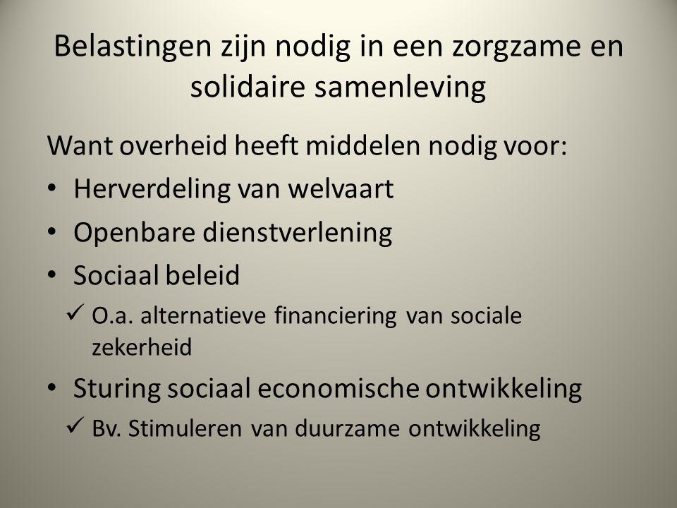 Belastingen zijn nodig in een zorgzame en solidaire samenleving Want overheid heeft middelen nodig voor: Herverdeling van welvaart Openbare dienstverlening Sociaal beleid O.a.