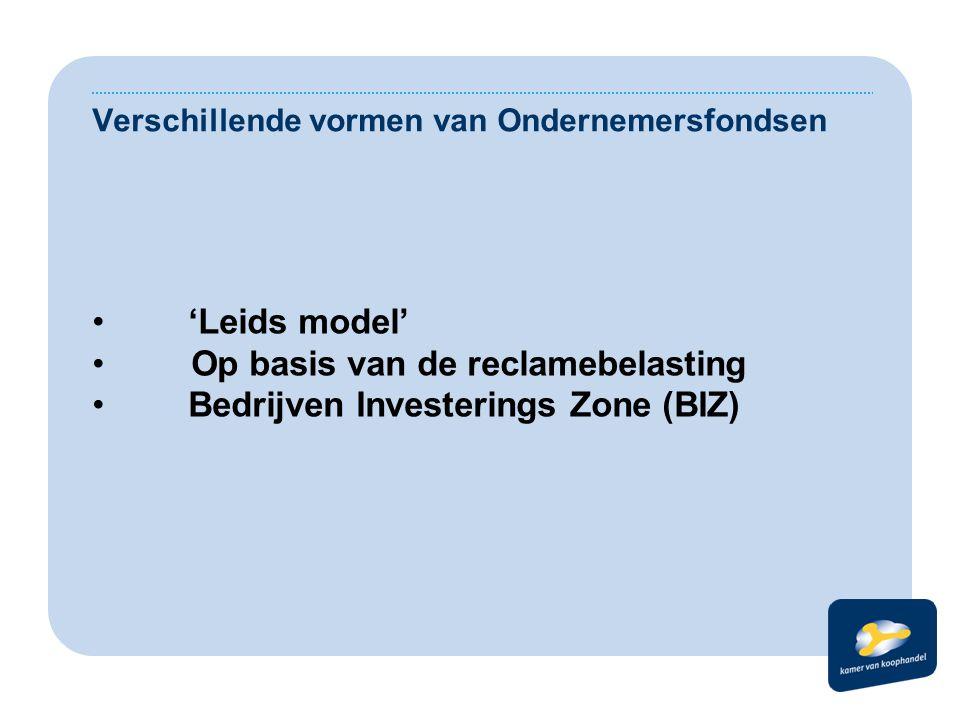 Verschillende vormen van Ondernemersfondsen 'Leids model' Op basis van de reclamebelasting Bedrijven Investerings Zone (BIZ)