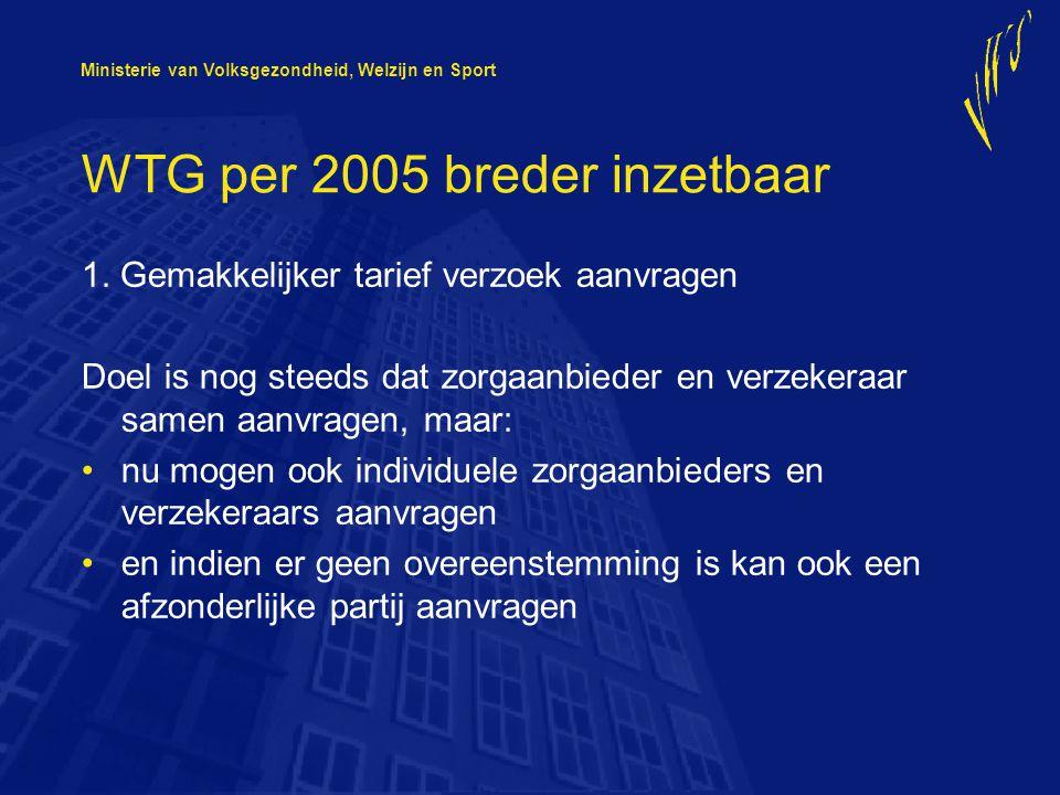 Ministerie van Volksgezondheid, Welzijn en Sport WTG per 2005 breder inzetbaar 2.