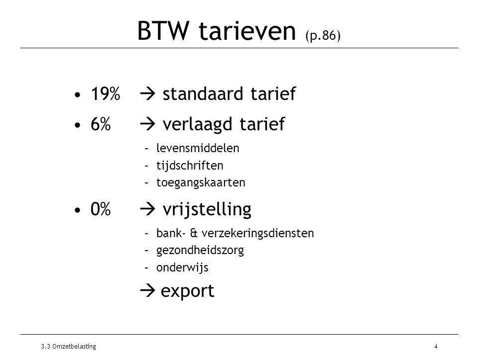 3.3 Omzetbelasting4 BTW tarieven (p.86) 19%  standaard tarief 6%  verlaagd tarief –levensmiddelen –tijdschriften –toegangskaarten 0%  vrijstelling –bank- & verzekeringsdiensten –gezondheidszorg –onderwijs  export