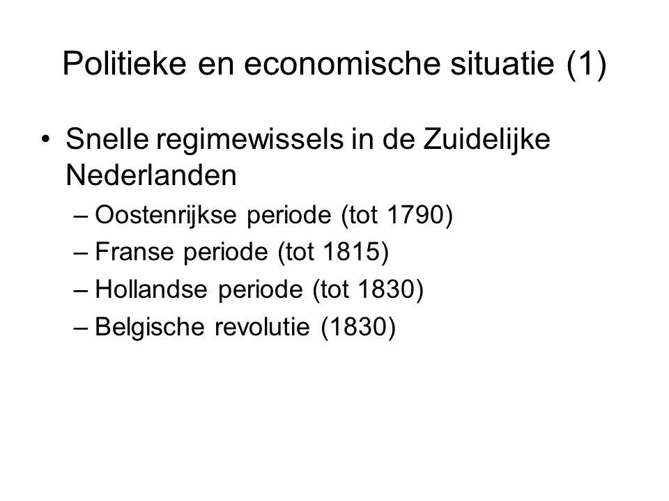 Politieke en economische situatie (1) Snelle regimewissels in de Zuidelijke Nederlanden –Oostenrijkse periode (tot 1790) –Franse periode (tot 1815) –H