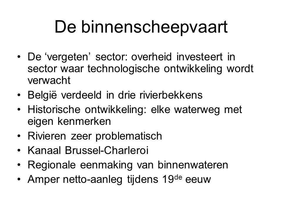 De binnenscheepvaart De 'vergeten' sector: overheid investeert in sector waar technologische ontwikkeling wordt verwacht België verdeeld in drie rivie
