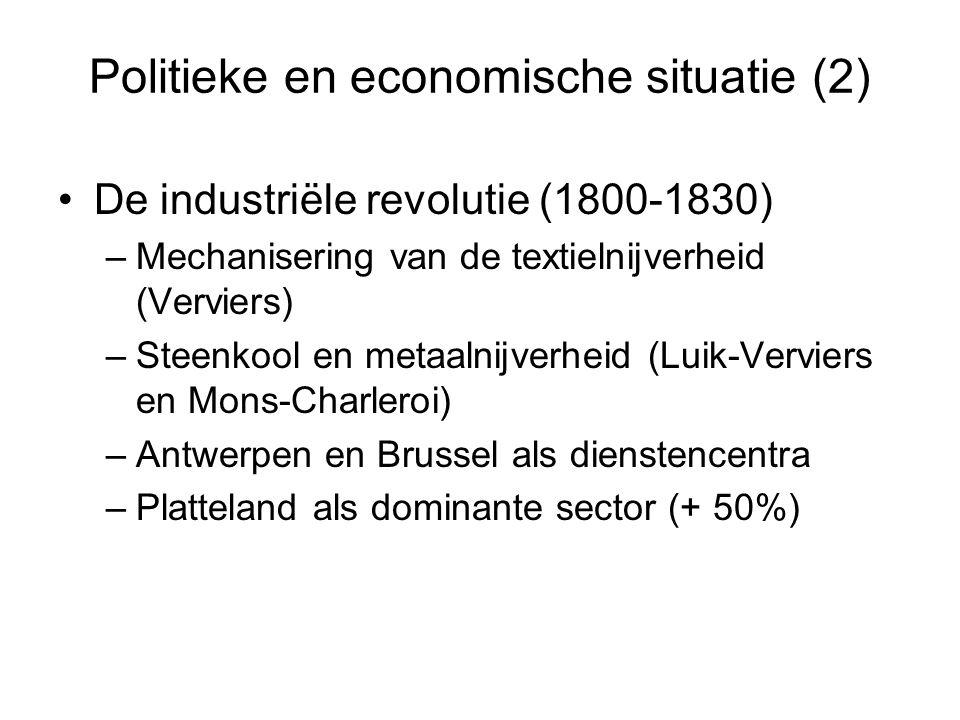 Politieke en economische situatie (2) De industriële revolutie (1800-1830) –Mechanisering van de textielnijverheid (Verviers) –Steenkool en metaalnijv