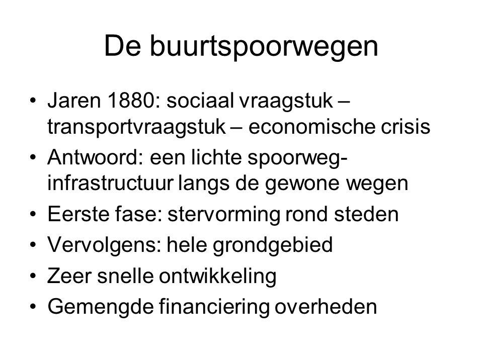 De buurtspoorwegen Jaren 1880: sociaal vraagstuk – transportvraagstuk – economische crisis Antwoord: een lichte spoorweg- infrastructuur langs de gewo