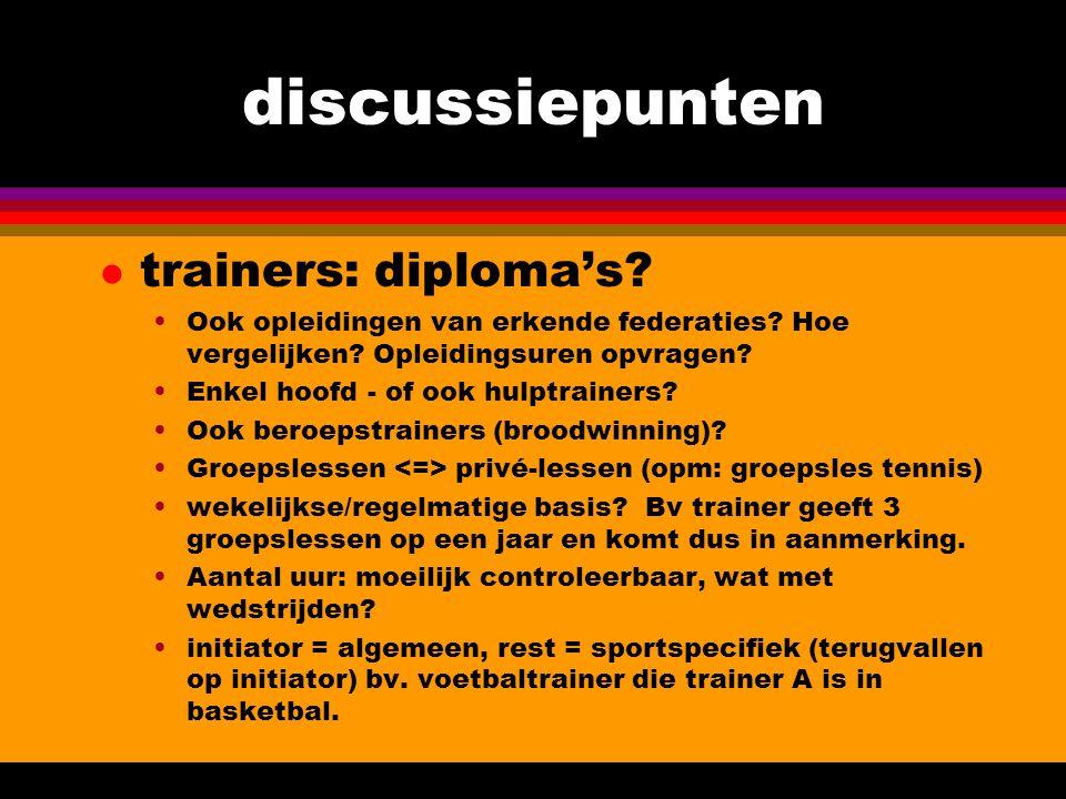 discussiepunten l trainers: diploma's. Ook opleidingen van erkende federaties.