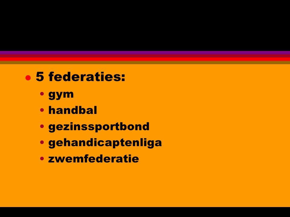l 5 federaties: gym handbal gezinssportbond gehandicaptenliga zwemfederatie
