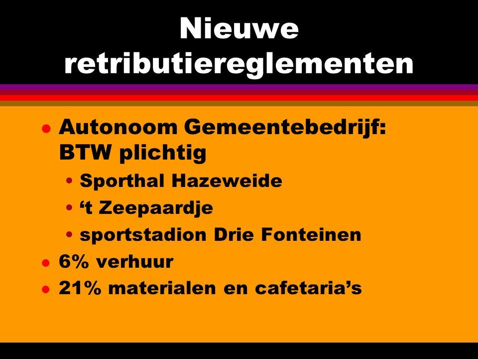 Nieuwe retributiereglementen l Autonoom Gemeentebedrijf: BTW plichtig Sporthal Hazeweide 't Zeepaardje sportstadion Drie Fonteinen l 6% verhuur l 21% materialen en cafetaria's