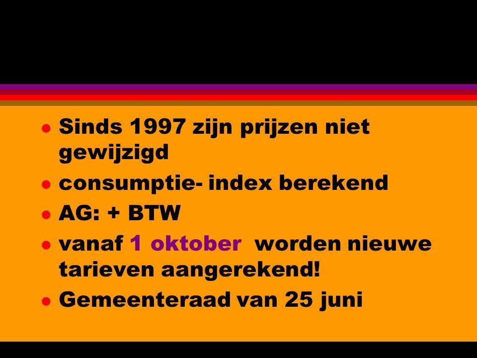 l Sinds 1997 zijn prijzen niet gewijzigd l consumptie- index berekend l AG: + BTW l vanaf 1 oktober worden nieuwe tarieven aangerekend.