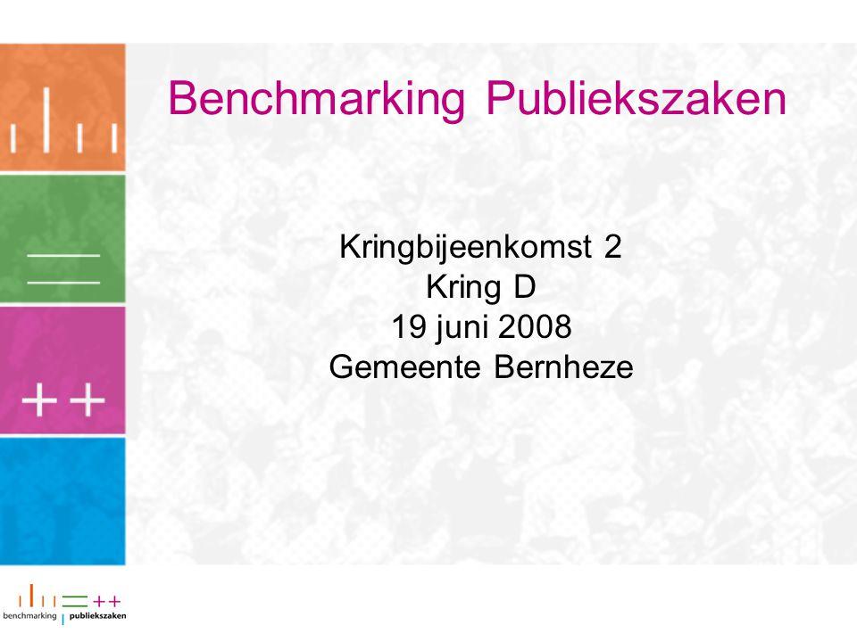Benchmarking Publiekszaken Kringbijeenkomst 2 Kring D 19 juni 2008 Gemeente Bernheze