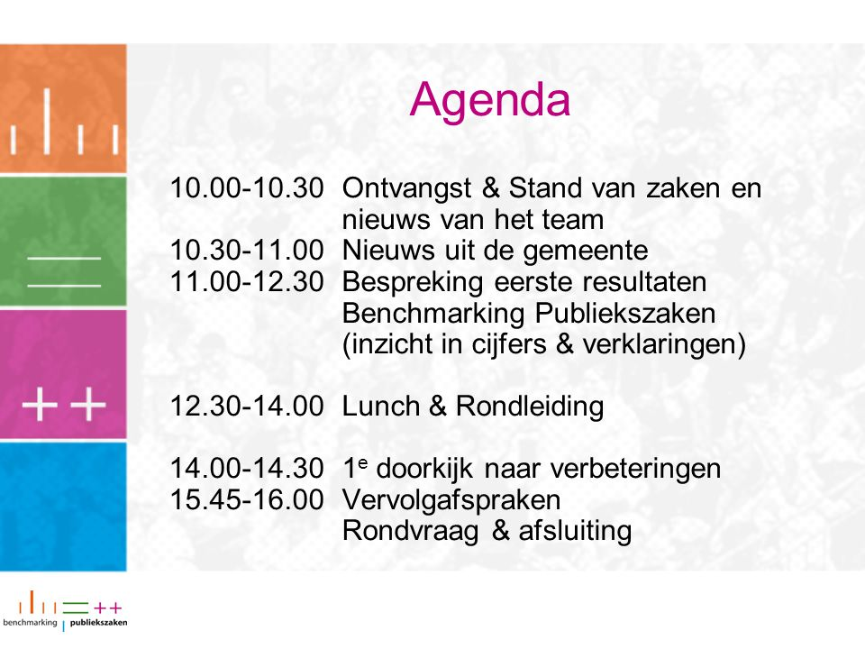 Agenda 10.00-10.30 Ontvangst & Stand van zaken en nieuws van het team 10.30-11.00Nieuws uit de gemeente 11.00-12.30Bespreking eerste resultaten Benchm