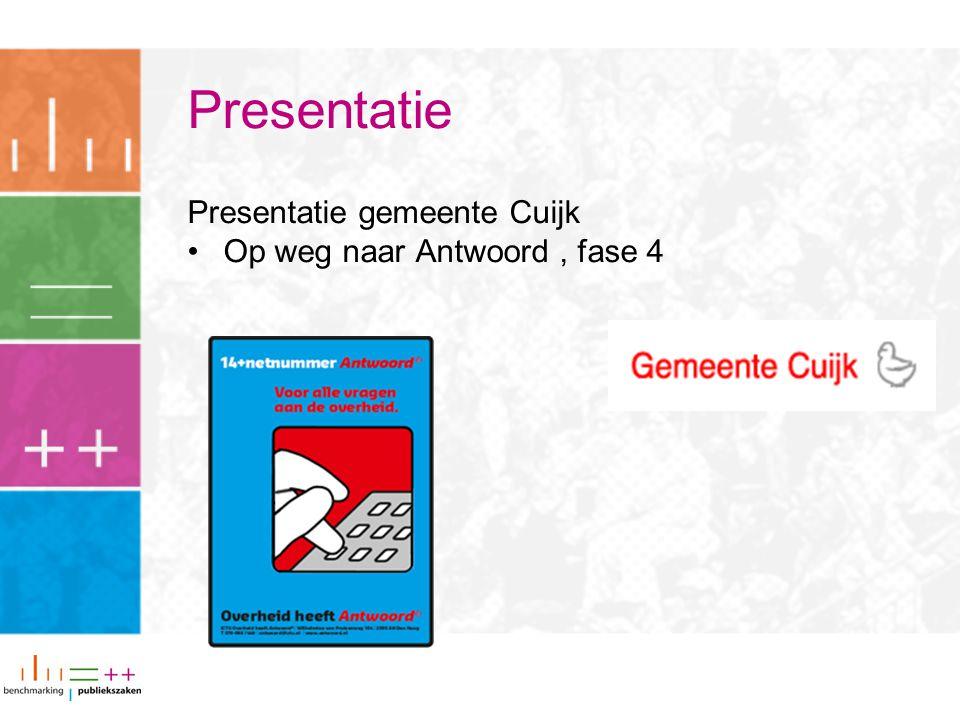 Presentatie Presentatie gemeente Cuijk Op weg naar Antwoord, fase 4