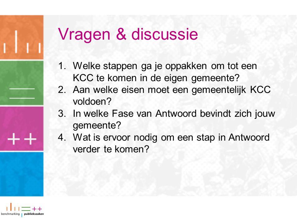 Vragen & discussie 1.Welke stappen ga je oppakken om tot een KCC te komen in de eigen gemeente? 2.Aan welke eisen moet een gemeentelijk KCC voldoen? 3