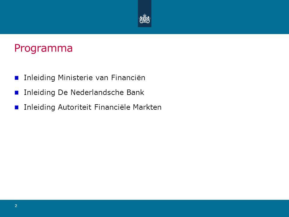 Programma Inleiding Ministerie van Financiën Inleiding De Nederlandsche Bank Inleiding Autoriteit Financiële Markten 2