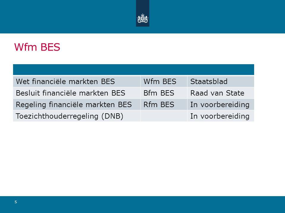 Wfm BES 5 Wet financiële markten BESWfm BESStaatsblad Besluit financiële markten BESBfm BESRaad van State Regeling financiële markten BESRfm BESIn voorbereiding Toezichthouderregeling (DNB)In voorbereiding