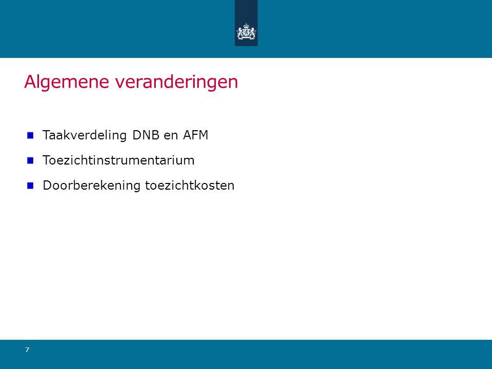 Algemene veranderingen Taakverdeling DNB en AFM Toezichtinstrumentarium Doorberekening toezichtkosten 7