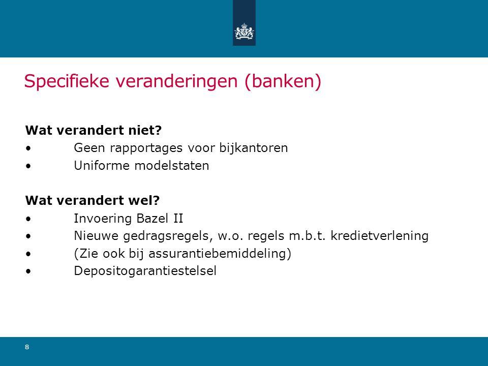 Specifieke veranderingen (banken) Wat verandert niet.