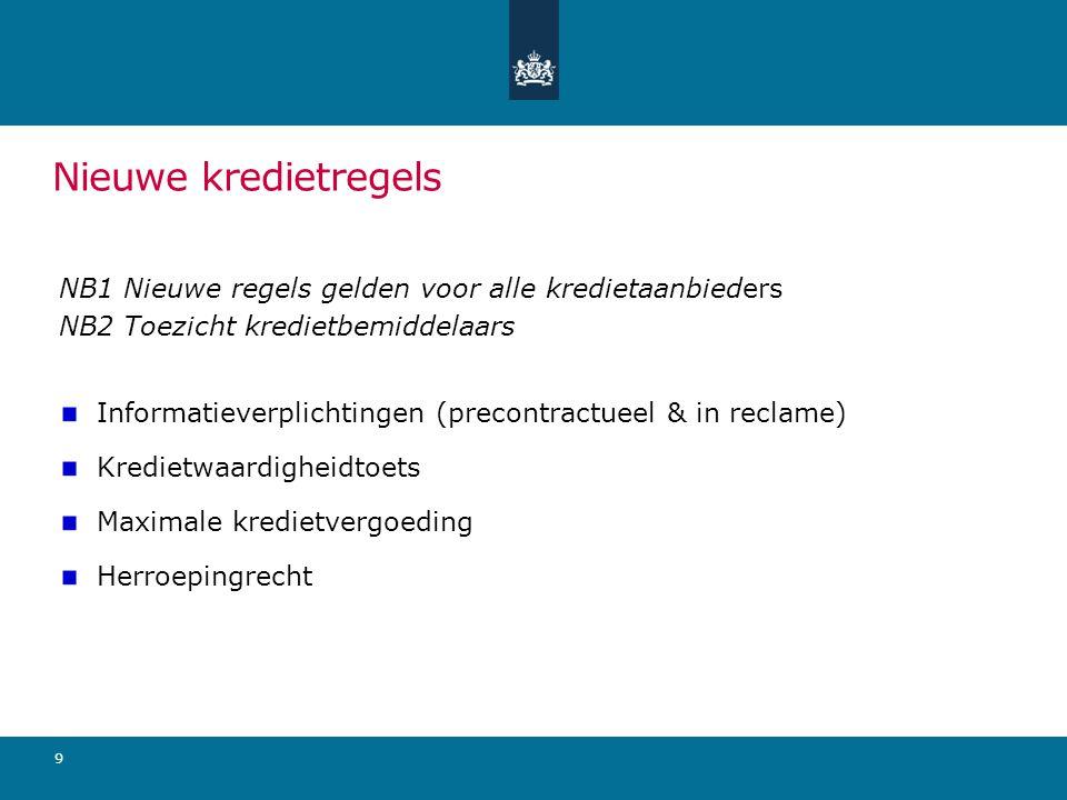 Nieuwe kredietregels NB1 Nieuwe regels gelden voor alle kredietaanbieders NB2 Toezicht kredietbemiddelaars Informatieverplichtingen (precontractueel & in reclame) Kredietwaardigheidtoets Maximale kredietvergoeding Herroepingrecht 9