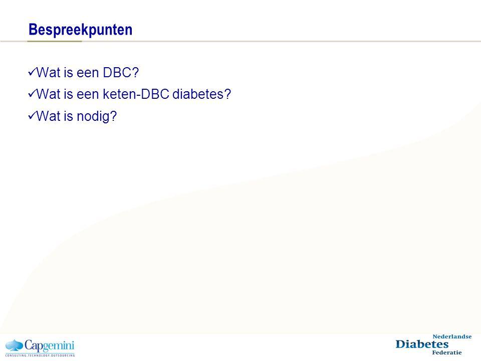 Bespreekpunten Wat is een DBC? Wat is een keten-DBC diabetes? Wat is nodig?