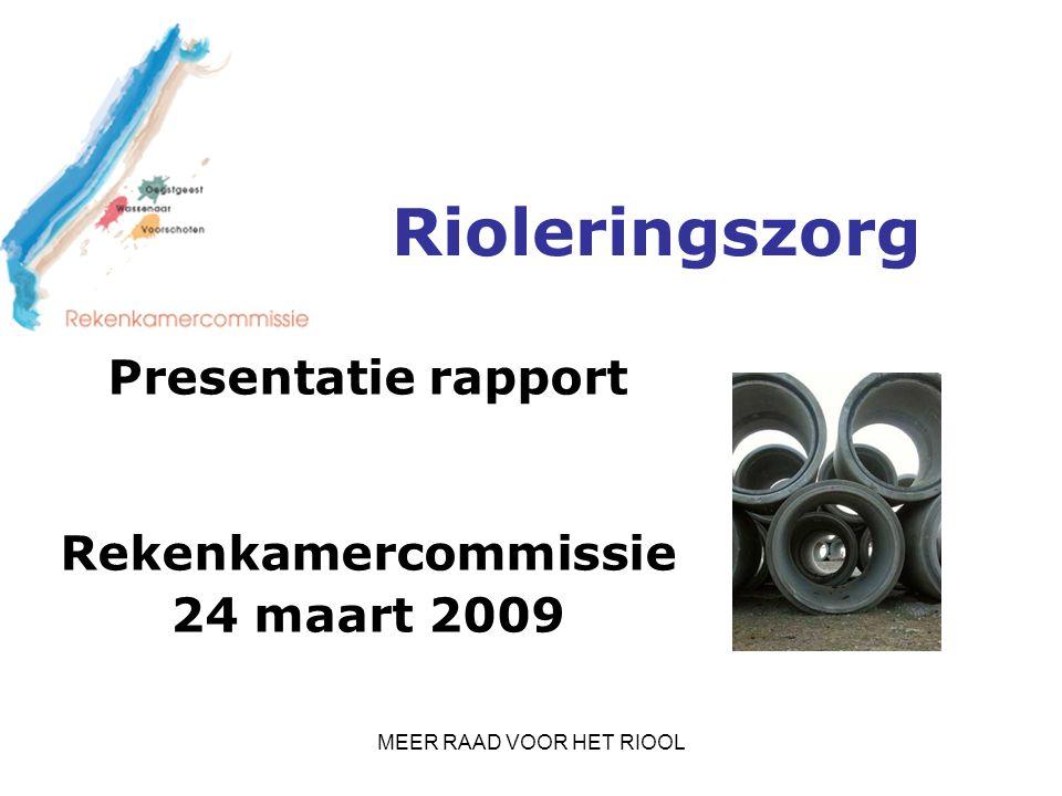 MEER RAAD VOOR HET RIOOL Rioleringszorg Presentatie rapport Rekenkamercommissie 24 maart 2009