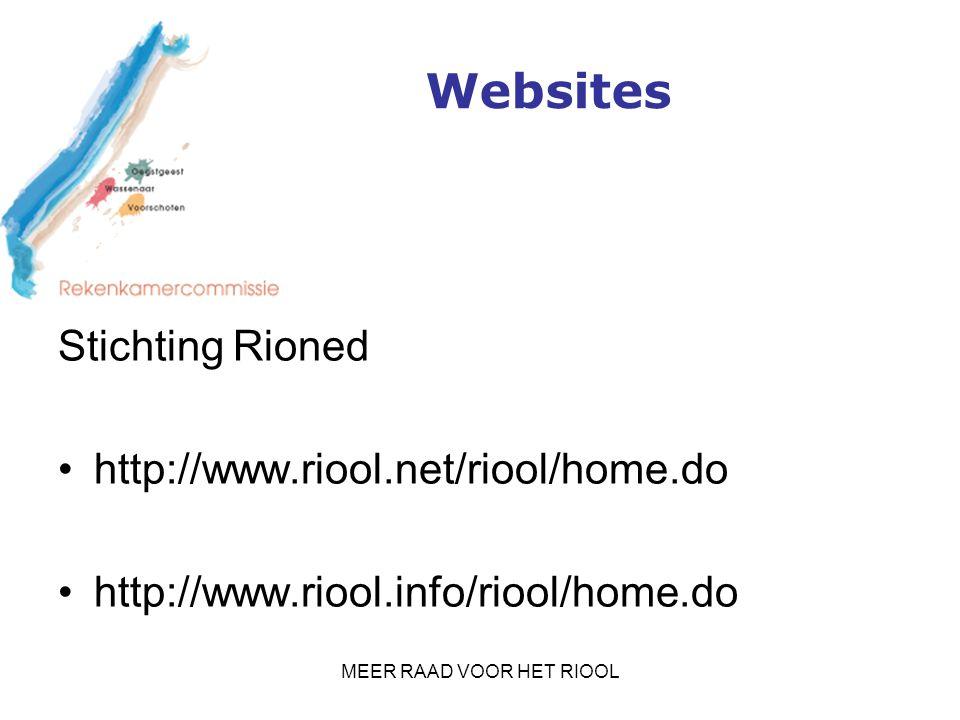 MEER RAAD VOOR HET RIOOL Websites Stichting Rioned http://www.riool.net/riool/home.do http://www.riool.info/riool/home.do