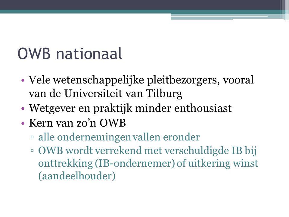 OWB nationaal Vele wetenschappelijke pleitbezorgers, vooral van de Universiteit van Tilburg Wetgever en praktijk minder enthousiast Kern van zo'n OWB ▫alle ondernemingen vallen eronder ▫OWB wordt verrekend met verschuldigde IB bij onttrekking (IB-ondernemer) of uitkering winst (aandeelhouder)