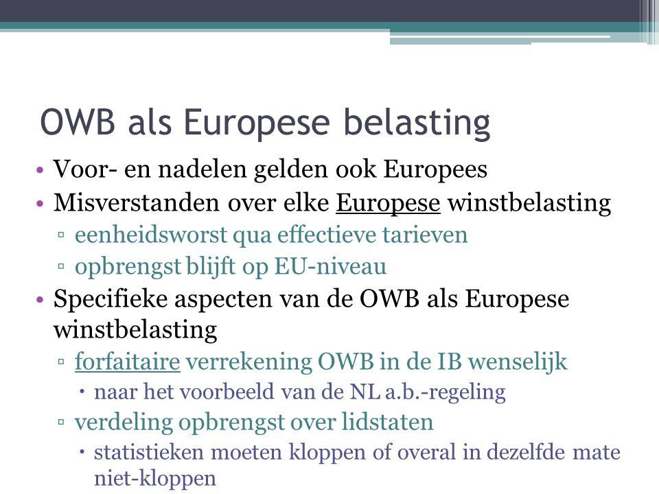 OWB als Europese belasting Voor- en nadelen gelden ook Europees Misverstanden over elke Europese winstbelasting ▫eenheidsworst qua effectieve tarieven ▫opbrengst blijft op EU-niveau Specifieke aspecten van de OWB als Europese winstbelasting ▫forfaitaire verrekening OWB in de IB wenselijk  naar het voorbeeld van de NL a.b.-regeling ▫verdeling opbrengst over lidstaten  statistieken moeten kloppen of overal in dezelfde mate niet-kloppen