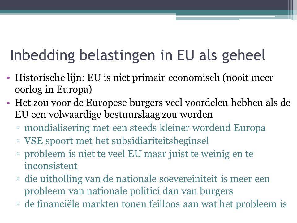 Inbedding belastingen in EU als geheel Historische lijn: EU is niet primair economisch (nooit meer oorlog in Europa) Het zou voor de Europese burgers veel voordelen hebben als de EU een volwaardige bestuurslaag zou worden ▫mondialisering met een steeds kleiner wordend Europa ▫VSE spoort met het subsidiariteitsbeginsel ▫probleem is niet te veel EU maar juist te weinig en te inconsistent ▫die uitholling van de nationale soevereiniteit is meer een probleem van nationale politici dan van burgers ▫de financiële markten tonen feilloos aan wat het probleem is