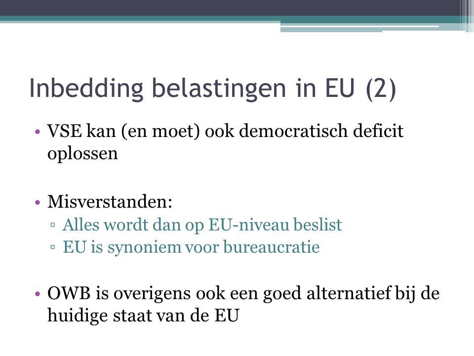 Inbedding belastingen in EU (2) VSE kan (en moet) ook democratisch deficit oplossen Misverstanden: ▫Alles wordt dan op EU-niveau beslist ▫EU is synoniem voor bureaucratie OWB is overigens ook een goed alternatief bij de huidige staat van de EU