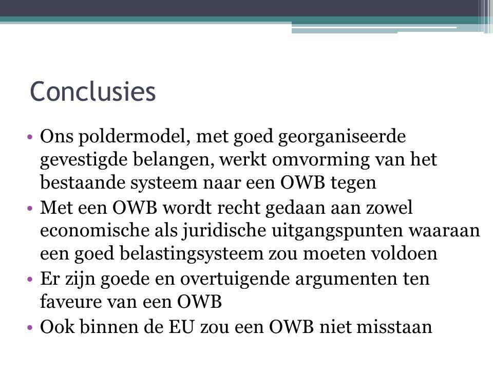 Conclusies Ons poldermodel, met goed georganiseerde gevestigde belangen, werkt omvorming van het bestaande systeem naar een OWB tegen Met een OWB word