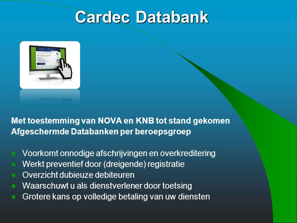 Door aansluiting toegang tot: Cardec Databank Factoring Incasso Kredietrapporten opvragen Financieringen (zakelijke cliënten) Praktijkfinancieringen V